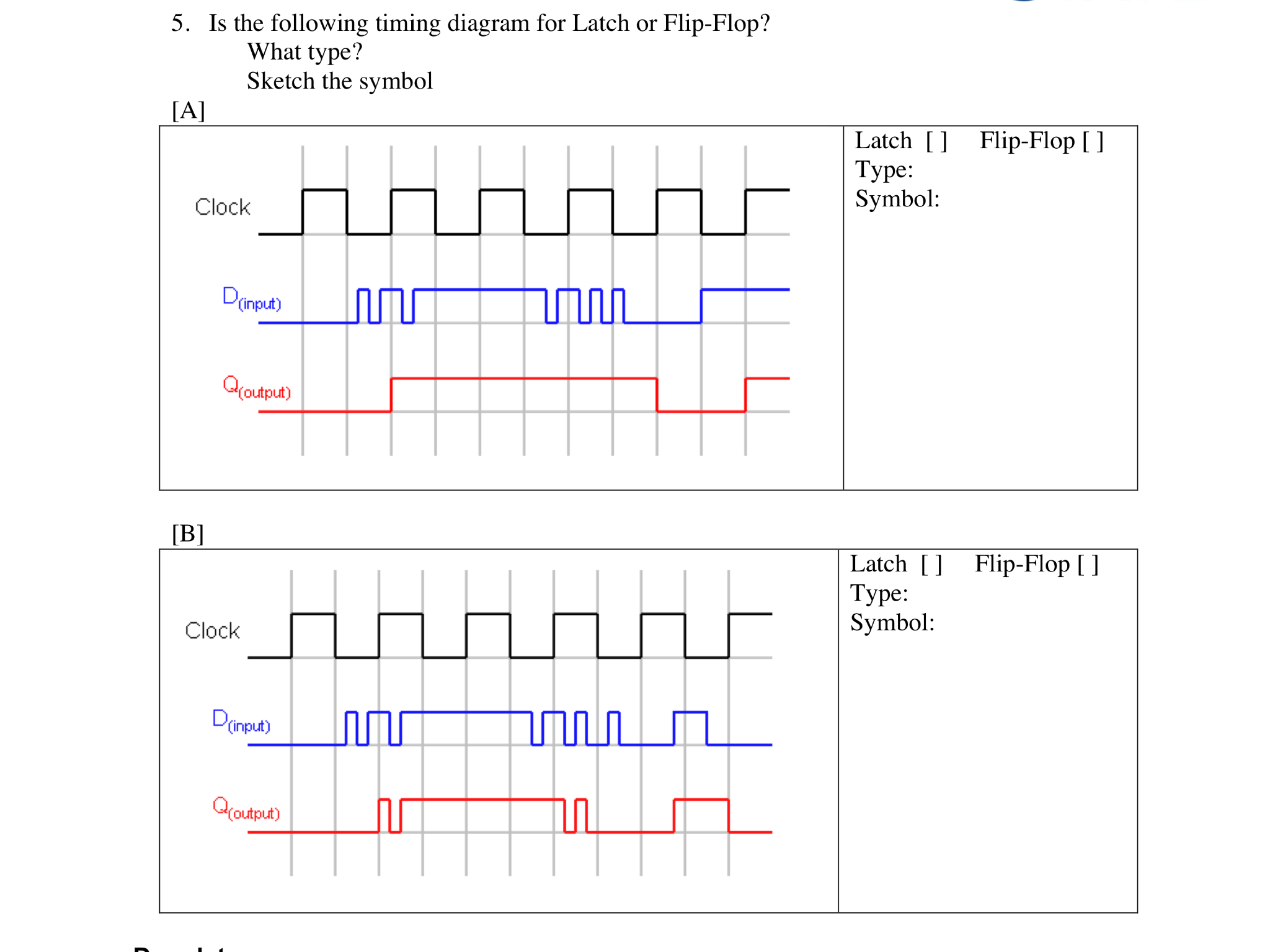 8377e95b784e63 Solved  Is The Following Timing Diagram For Latch OR Flip ...