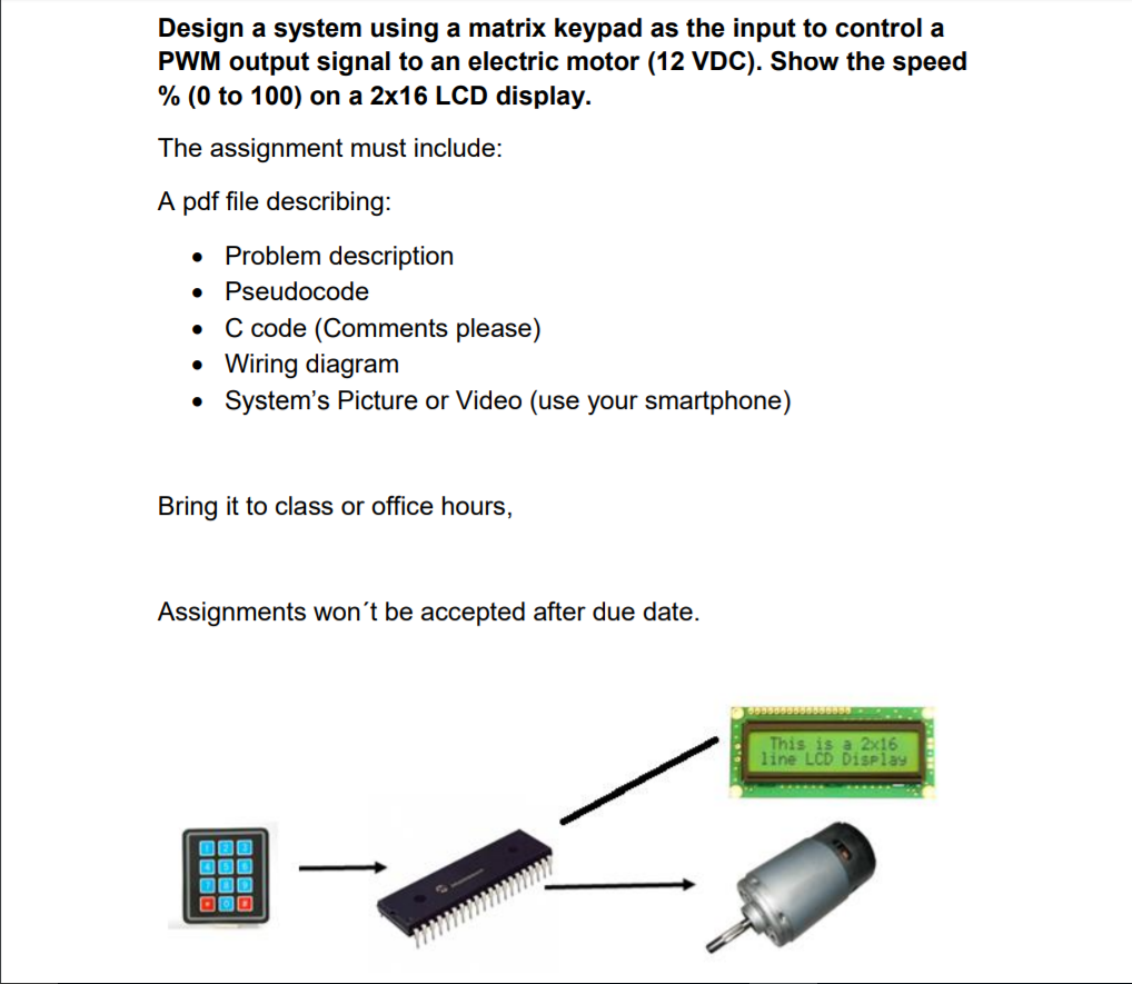 Design A System Using Matrix Keypad As The Input 12 Vdc Wiring Diagrams To Control Pwm Output Signal