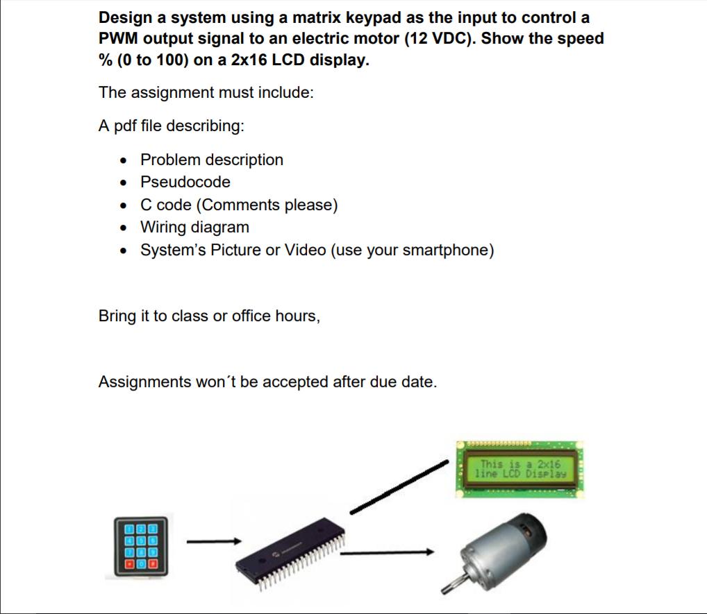 Design A System Using A Matrix Keypad As The Input    | Chegg com