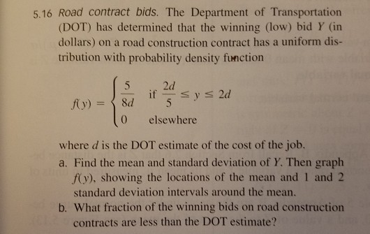 Solved: 5 16 Road Contract Bids  The Department Of Transpo
