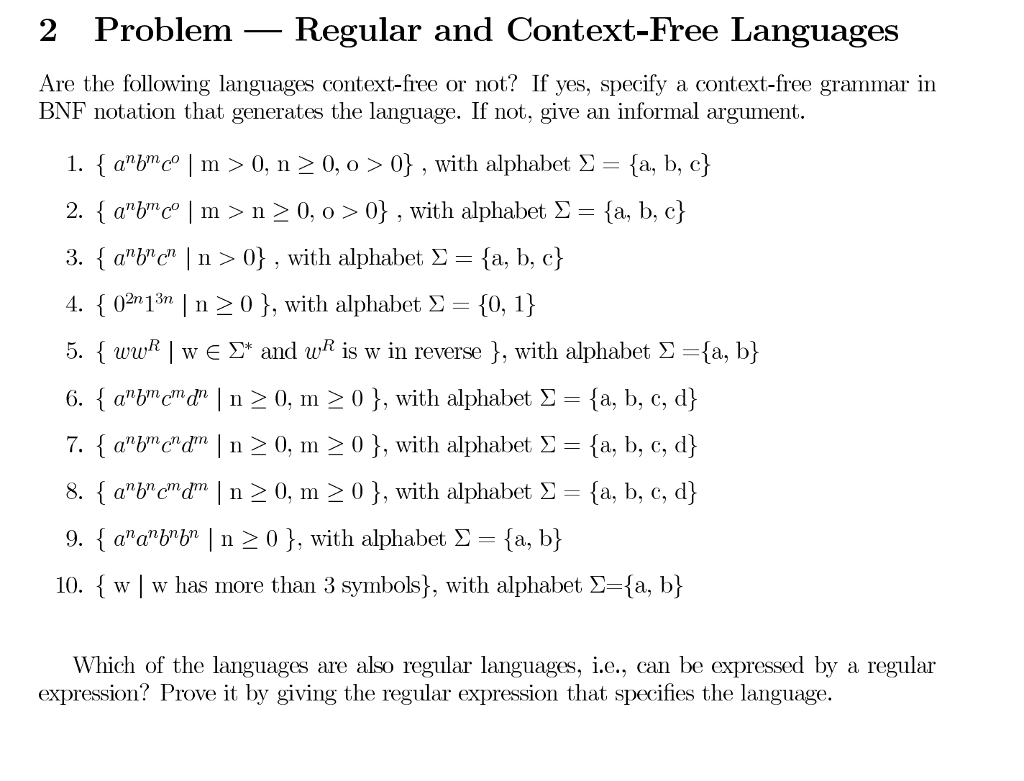 Computer science archive october 02 2017 chegg 2 problem regular and context free languages are the following languages context free biocorpaavc Gallery