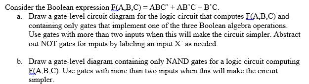 Solved  Consider The Boolean Expression E Abc    Abc U0026 39    Ab