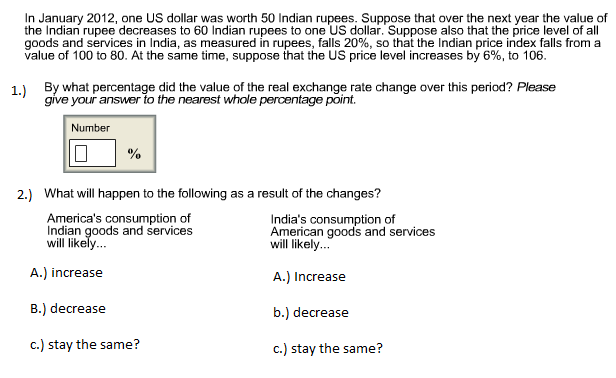 Solved: In January 2012, One US Dollar Was Worth 50 Indian