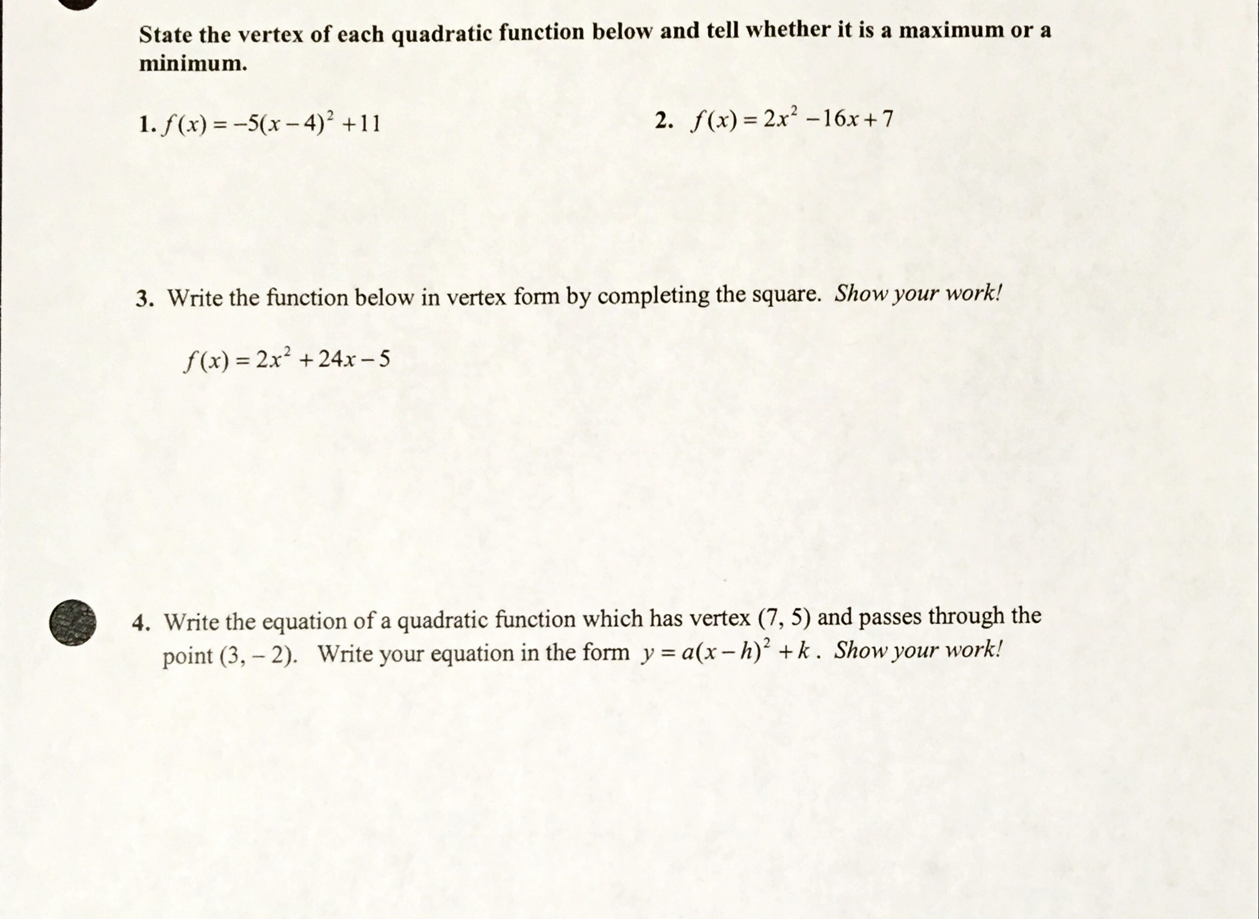 Solved State The Vertex Of Each Quadratic Function Below
