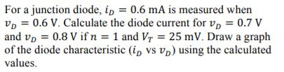 For a junction diode, 1D-0.6 mA is measured when UD = 0.6 V. Calculate the diode current for UD-0.7 V and v 0.8 V ifn1 and Vr 25 mV. Draw a graph of the diode characteristic (ip VS Vb) using the calculated values.