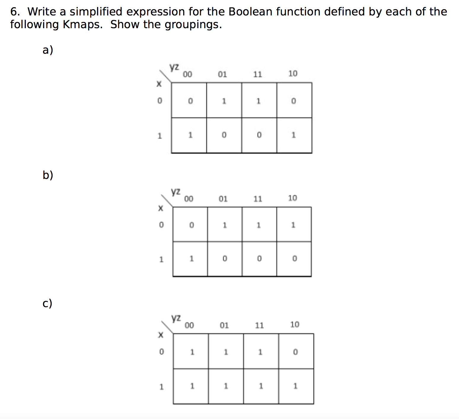Solved 6 Write A Simplified Expression For The Boolean F Sequential Wiring Diagram Image Function Defined By Each Of