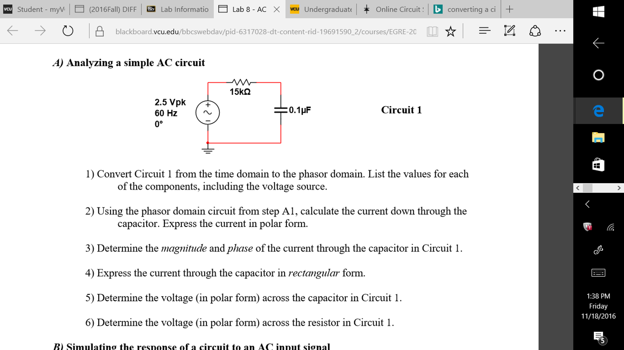 Solved: Analyzing A Simple AC Circuit Convert Circuit 1 Fr ...