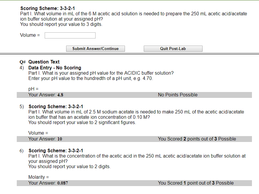 Scoring Scheme 3 3 2 1 Part I What Volume In Ml Chegg