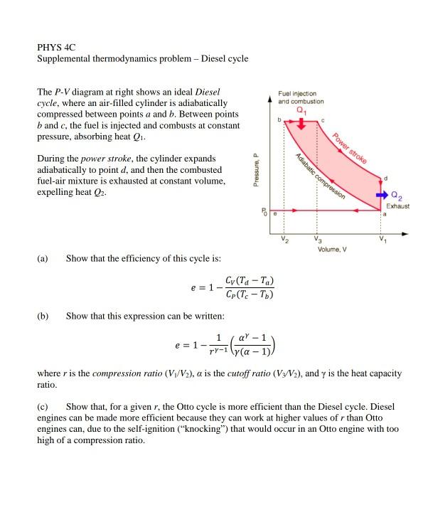 Solved Phys 4c Supplemental Thermodynamics Problem Diesel
