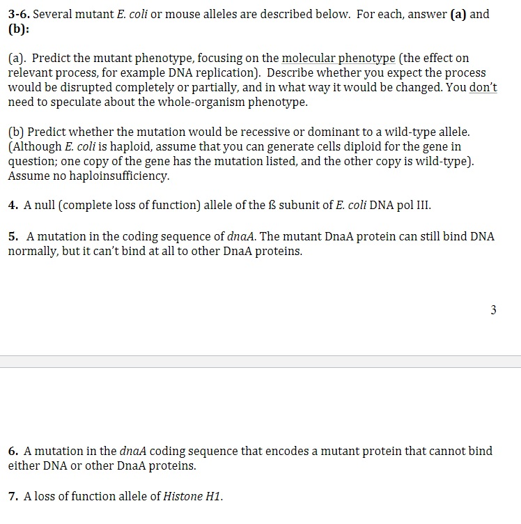 Solved: 3-6. Several Mutant E. Coli Or Mouse Alleles Are D ...