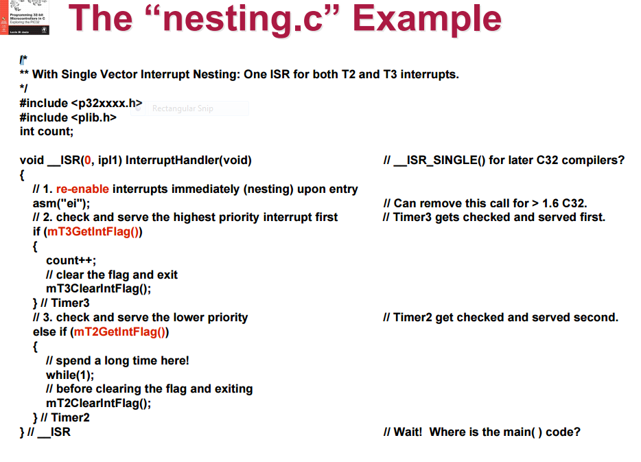 USING THE PIC32 ONLY S1  Nesting c For Single?vect    | Chegg com