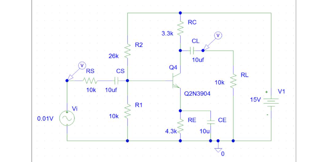 RC 3.3k CL R2 26k 10uf Q4 RS CS RL 10k 10k 10uf +V1 Q2N3904 R1 Vi 10k RE CE 0.01V 4.3k
