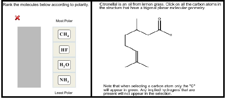 Solved: Rank The Molecules Below According To Polarity  Ct