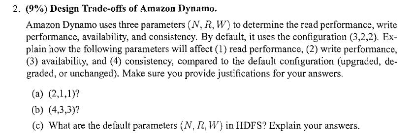 Solved: 2  (9%) Design Trade-offs Of Amazon Dynamo  Amazon