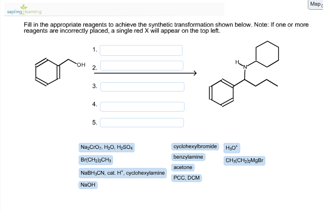 solved fill in the appropriate reagents to achieve the sy
