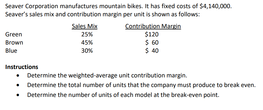 Solved Seaver Corporation Manufactures Mountain Bikes It
