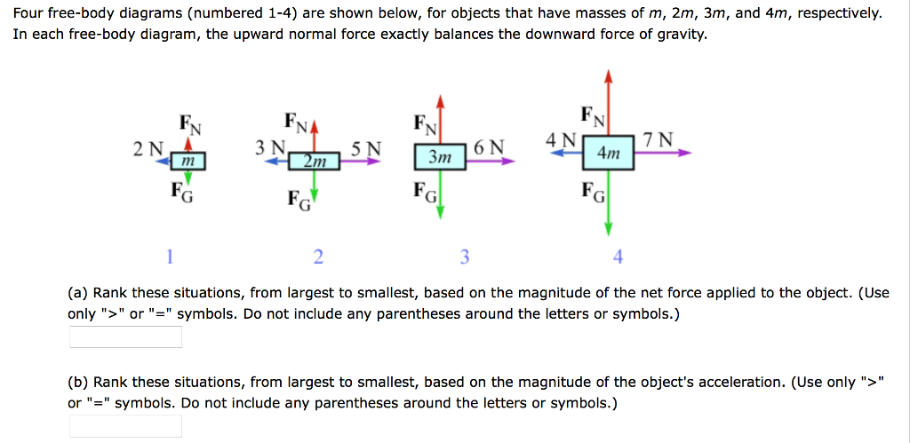 solved four free body diagrams (numbered 1 4) are shown bfour free body diagrams (numbered 1 4) are shown below, for