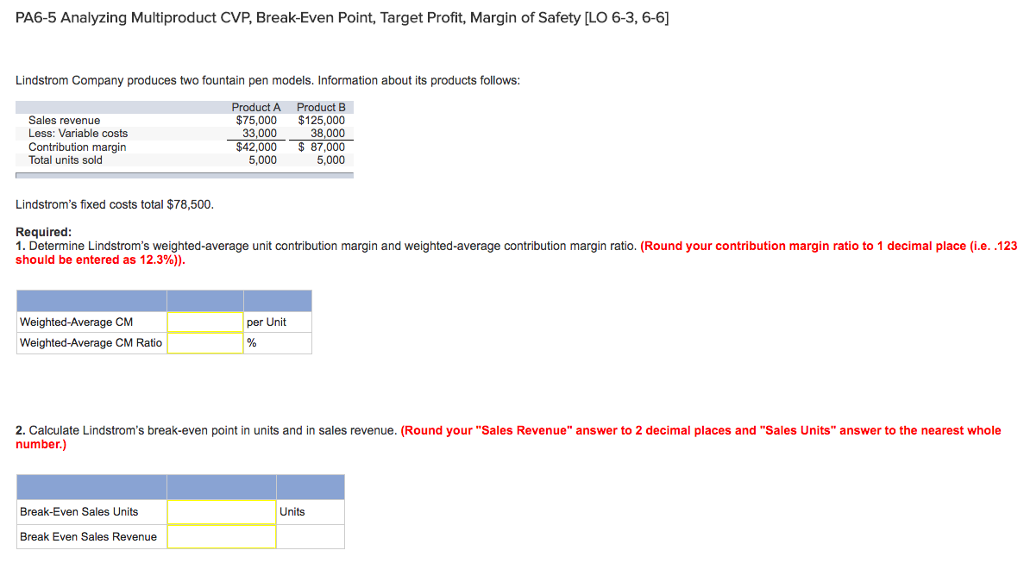 acc500 case study multiproduct breakeven analysis Perform cost-volume-profit analysis for multiple-product and what information is needed to calculate the break-even point for in the case of kayaks.
