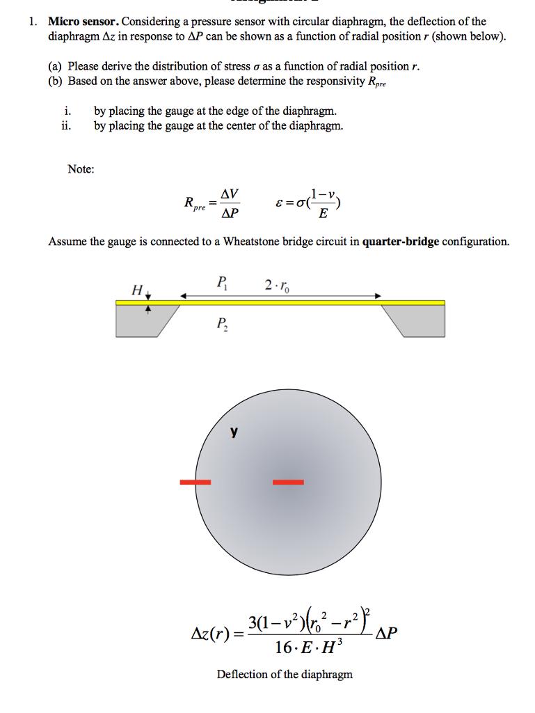 Micro Sensor Considering A Pressure Sensor With C Chegg