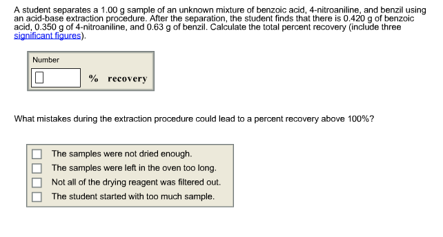 how to get better percent recovery in acid base separation