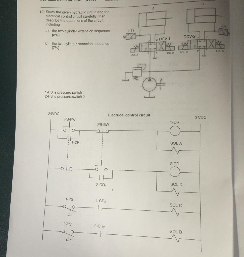 Solved 19 Study The Given Hydraulic Circuit And Elec Basic Electrical Control Carefully Then Describe