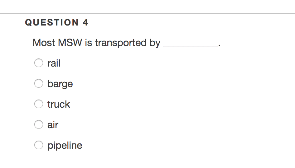 Solved: QUESTION 4 Most MSW Is Transported By O Rail Barge