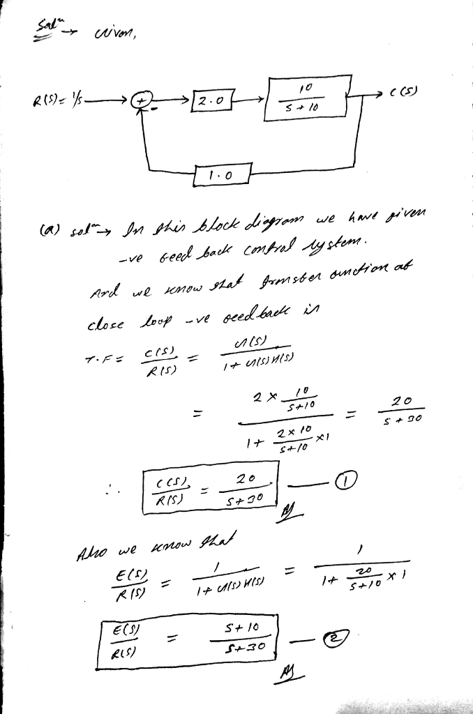 Solved 1 Given The Following Closed Loop System Es 10