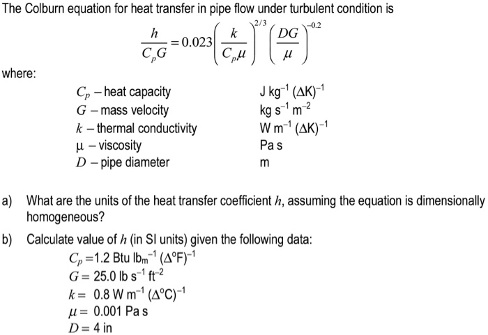 Solved The Colburn Equation For Heat Transfer In Pipe Flo