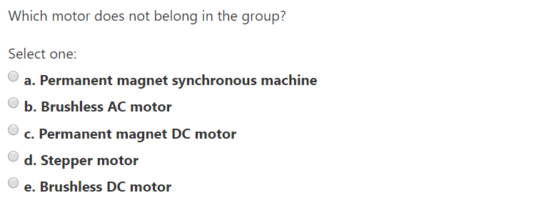 Solved: Which Motor Does Not Belong In The Group? Select O