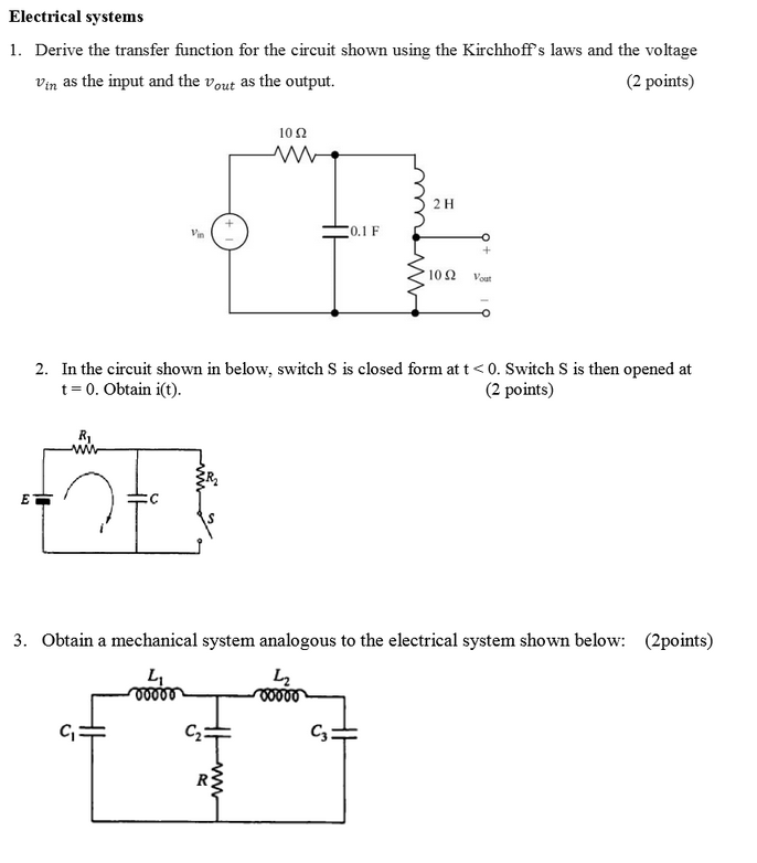 derive the transfer function of the electrical circuit electrical
