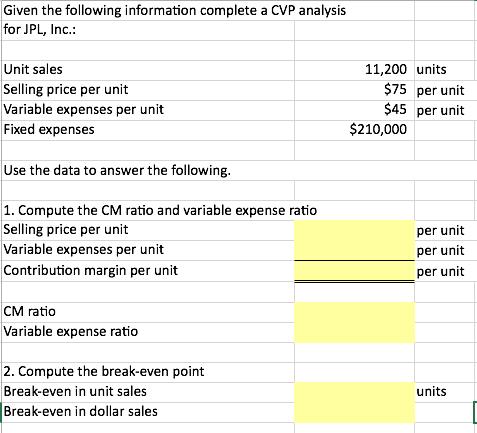 Solved Cvp Analysis Determine The Break Even Point Compu