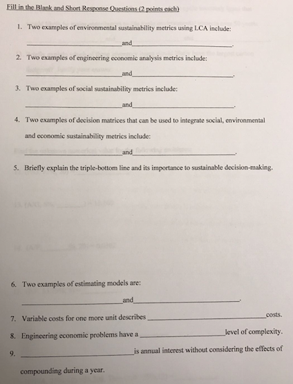 Solved: Fill In The Blank And Short Response Questions (2