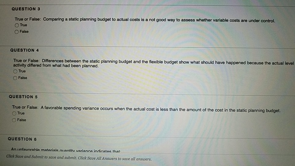 Accounting archive december 10 2017 chegg question 3 true or false comparing a static planning budget to actual costs is a fandeluxe Images
