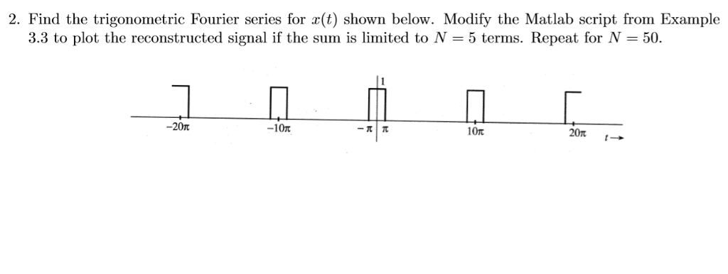 2. Find the trigonometric Fourier series for (t) shown below. Modify the Matlab script from Example 3.3 to plot the reconstructed signal if the sum is limited to N-5 terms. Repeat for N-50. -20π 10π