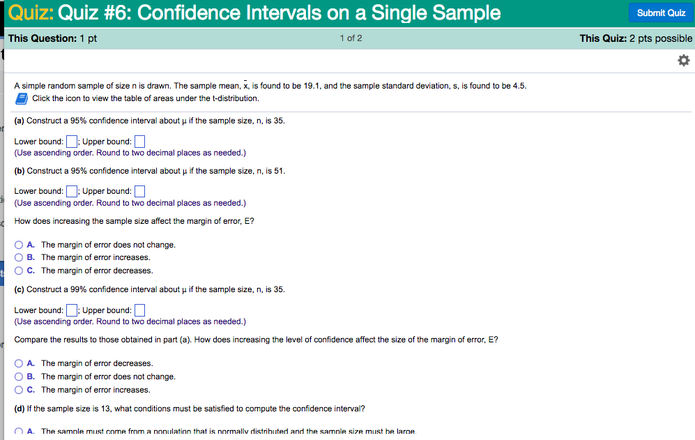 Solved quiz quiz 6 confidence intervals on a single sa question quiz quiz 6 confidence intervals on a single sample submit quiz this question 1 pt 1 of 2 thi ccuart Image collections