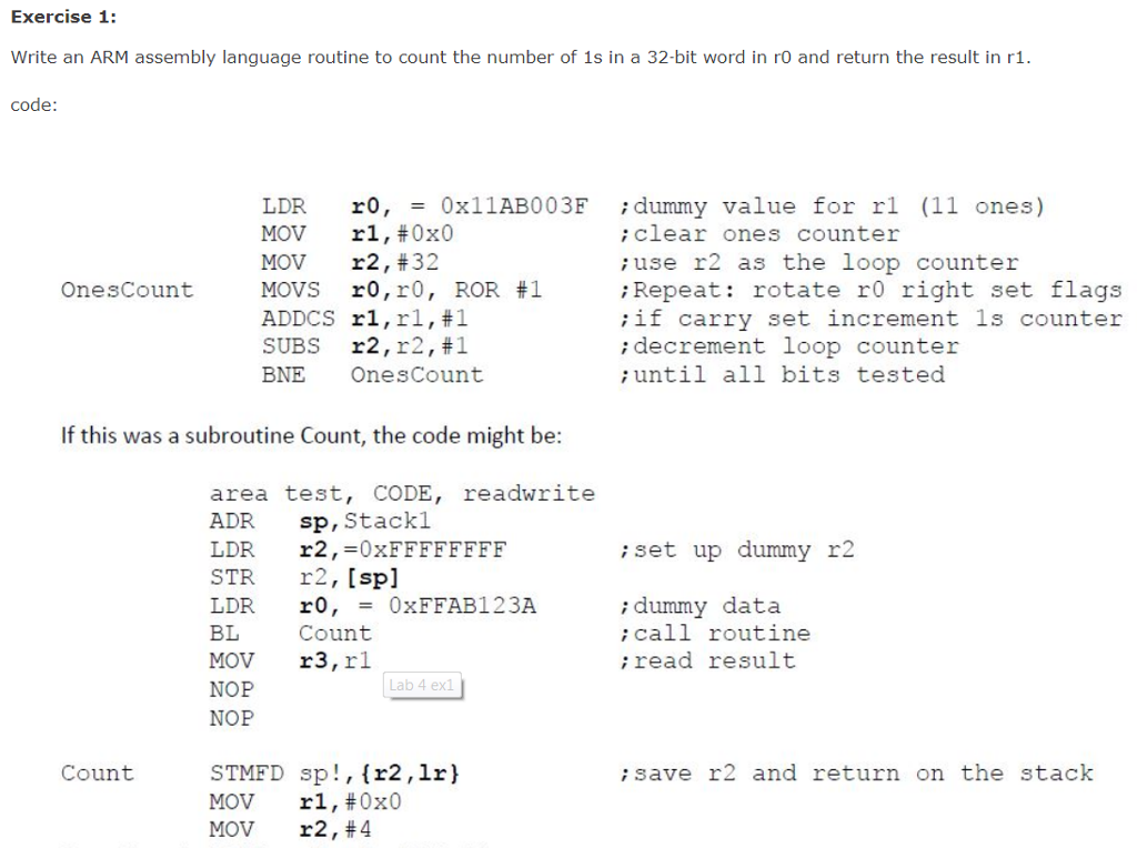 Exercise 1: Write An ARM Assembly Language Routine