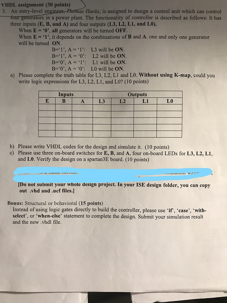 Solved: VHDL Assignment (30 Points) 3  An Entry-level Engi