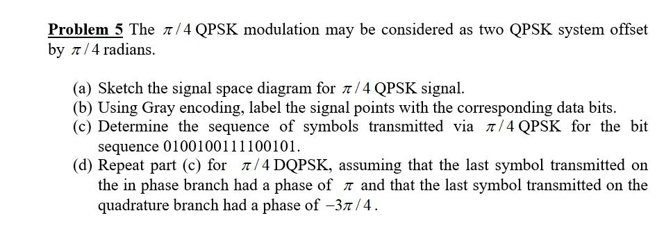 Solved Problem 5 The 4 Qpsk Modulation May Be Considere