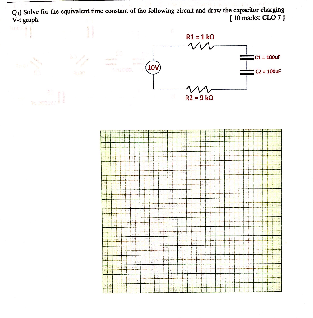 Solved Q3 Solve For The Equivalent Time Constant Of Capacitor Charging Circuit Following And Draw