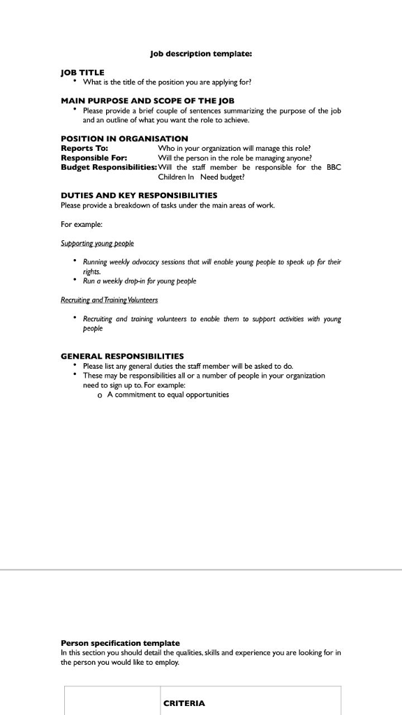 job description template job title what is the title of the position you are applying