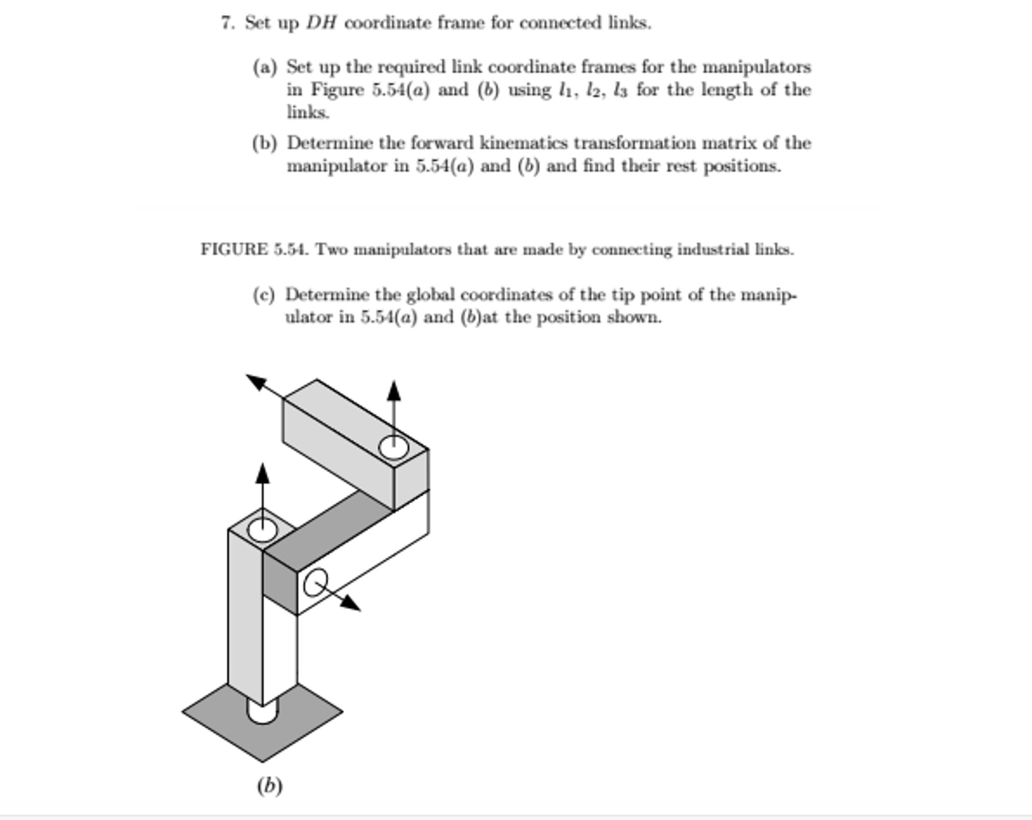 Set Up DH Coordinate Frame For Connected Links. Se... | Chegg.com
