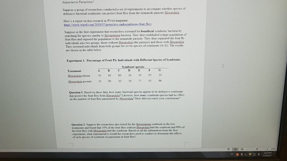 Biology Archive Questions from November 06 2017
