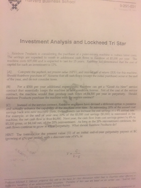investment analysis and lockheed tri star caes solution Case overview: star river electronics ltd star river electronics ltd is a large manufacturer and supplier of cd-roms based in singapore it was founded as a joint venture between an asian venture capital firm, new era partners and starlight electronics ltd, uk.