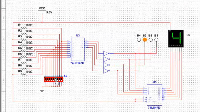 Decimal To Bcd Encoder And 7 Segment Display Using