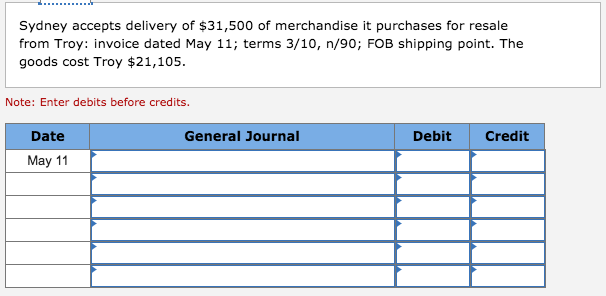 Sydney accepts delivery of $31,500 of merchandise it purchases for resale from Troy: invoice dated May 11; terms 3/10, n/90; FOB shipping point. The goods cost Troy $21,105 Note: Enter debits before credits. Date General Journal Debit Credit May 11