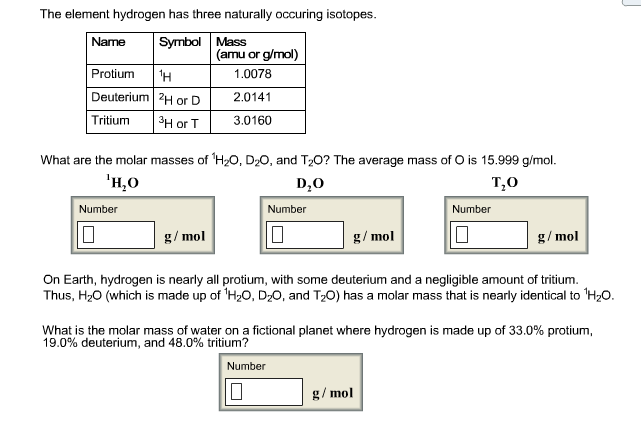 Solved What Are The Molar Masses Of 1h2o D2o And T2o T