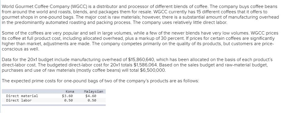 Accounting archive september 14 2017 chegg world gourmet coffee company wgcc is a distributor and processor of different blends of fandeluxe Images