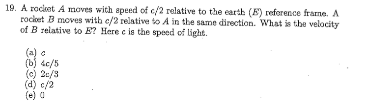 d830862605 Solved  A Rocket A Moves With Speed Of C 2 Relative To The ...