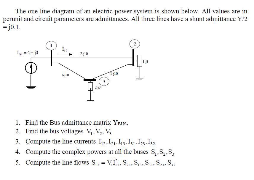 Solved The One Line Diagram Of An Electric Power System I