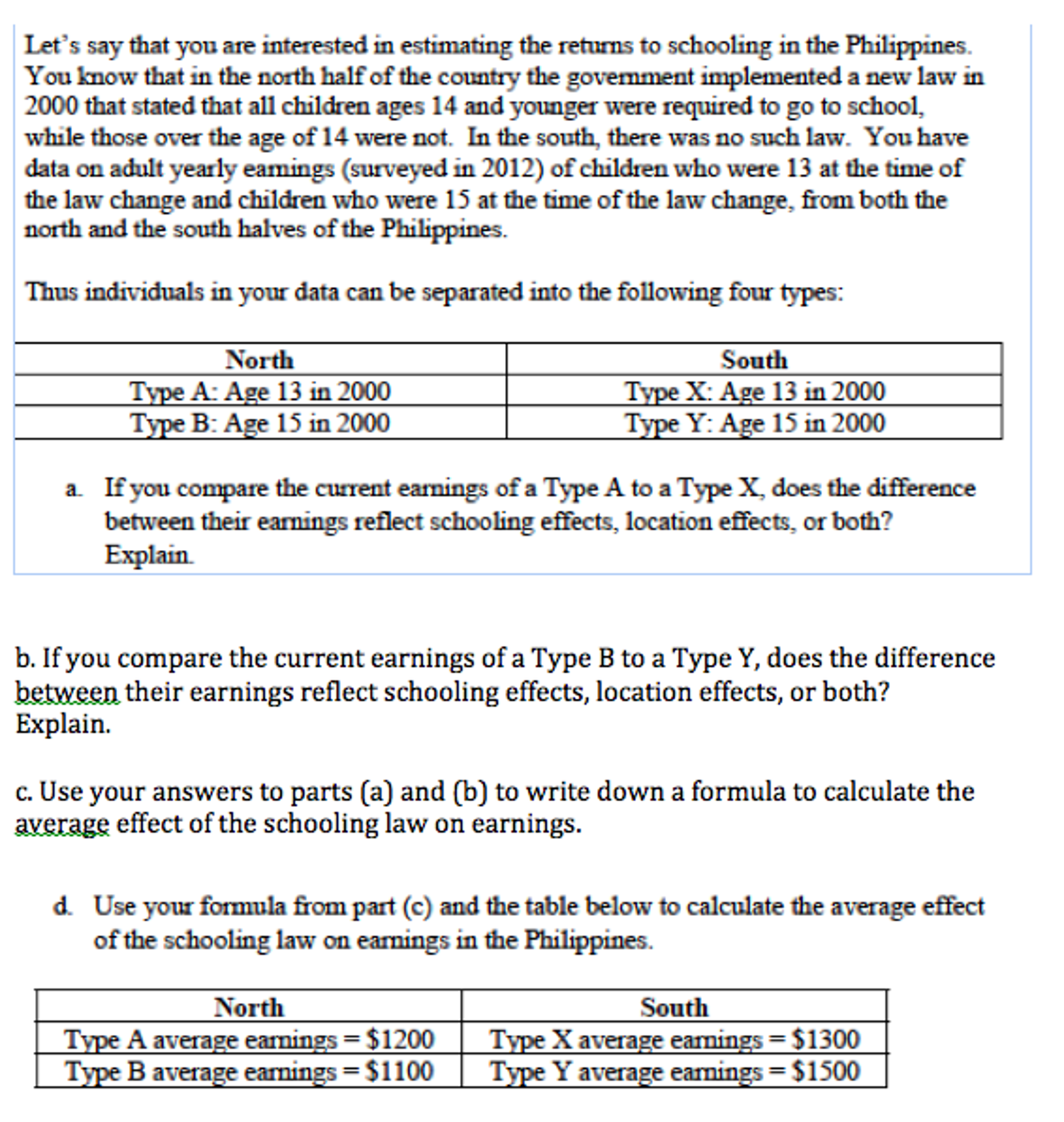Let's Say That You Are Interested In Estimating The Returns To Schooling In  The Philippines You
